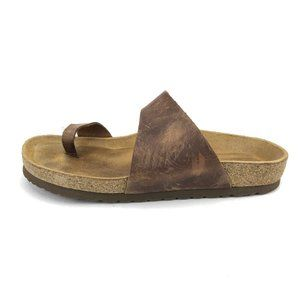 Naot Brown Leather Slip On Flat Sandals Womens 7
